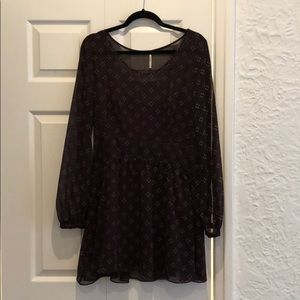 Free People maroon, silk, bell-sleeved dress